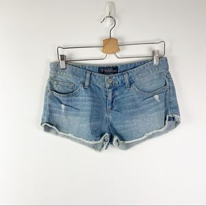 Guess Light Wash Distressed Shorts Low Rise 28